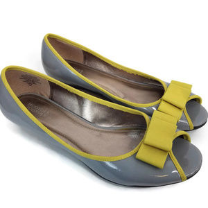 Grey Low Heel Wedge Peep Toe with Chartreuse Bow